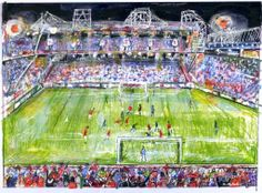 Old Trafford Match Day by Anthony McCarthy Old Trafford, City Photo, Drawings, Day, Drawing, Portrait, Illustrations