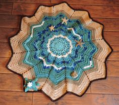 Sea Star Blanket..Hand Crochet, Baby Sea Turtle, Starfish, Ocean, Beach, Nursery Decor,Children, Turquoise, Aqua,  Beige, Throw..Afghan by outofthedoor on Etsy
