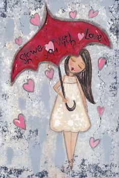 'Love' Whimsical Girl Canvas. I would repaint this with a less creepy looking girl