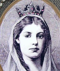 St. Dymphna - rare vintage print mounted on wooden plaque, antiqued & sealed. Swarovski crystals adorn her crown.