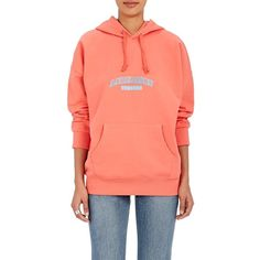 "Andersson Bell Women's ""Andersson Unusual\"" Cotton Hoodie ($59) ❤ liked on Polyvore featuring tops, hoodies, coral pink, cotton hoodies, cotton hoodie, pink hoodies, red top and pink hooded sweatshirt"