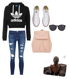 """""""School Vibes"""" by hannahvtangen on Polyvore featuring J Brand, Topshop, Converse, New Look and Yves Saint Laurent"""