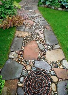 Rock Pathway through garden as seen on FB. Wish there was an attribution available. Reminds us of River Rocks stencils.