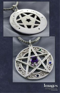 """Sterling Silver Gemstone Star Pendant  This pendant contains imperial topaz, lapis, sapphire, emerald , and ruby gems. The center is a custom cut amethyst. This piece has special meaning to the customer and the inscription reads """"Balance in all things"""".     Love this!!"""