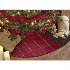 """Large Christmas Tree Skirt Primitive Green Red Plaid Cotton Holiday Country 48"""""""