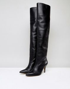 ASOS KLARA Leather Slouch Over The Knee Boots - Black