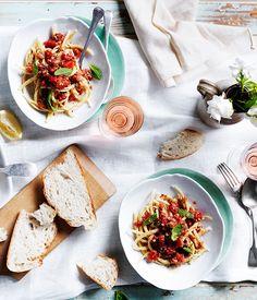 Australian Gourmet Traveller recipe for handmade busiate with pesto Trapanese.