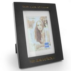 Engraved Black Wood Photo Frame