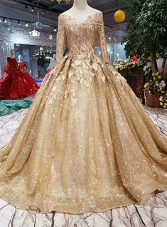 Gold Ball Gown Sequins Appliques Bateau Long Sleeve Wedding Dress V Neck Backless Lace Mermaid Cheap Wedding Dresses Online, Cheap Bridal Dresses Gold Wedding Gowns, Wedding Bridesmaid Dresses, Bridal Dresses, Long Sleeve Wedding, Wedding Dress Sleeves, Dress Wedding, Gold Long Sleeve Dress, Ball Gown Dresses, Evening Dresses