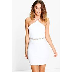 Boohoo Jess Lace Waist Detail Bodycon Dress (1,070 INR) ❤ liked on Polyvore featuring dresses, white tuxedo, white maxi dress, sequin party dresses, white dress and sequin cocktail dresses