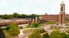 View of Ball State University's campus, including the Shafer Tower, in Muncie, Indiana....home of Nic's new job!