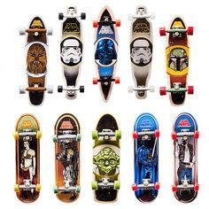 Tech Deck delivers the ultimate Star Wars 96mm fingerboard collector set! Officially licensed Santa Cruz replica skateboards, designed for supreme skate fans and Star Wars fans alike. Use the force to perform sick slides, awesome ollies, and gravity-defying flips. Exclusively from Tech Deck! Collect the deck!