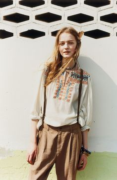 Boho Street Style Inspiration: Embroidered Peasant Blouse Summer Bohemian Look #johnnywas