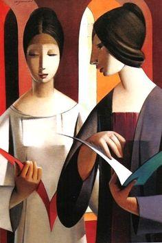 women reading by Armando Barrios