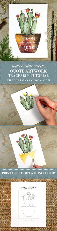 Watercolor Cactus Quote Artwork Tutorial