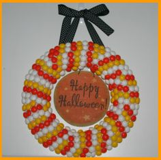 M&M's White Chocolate Candy Corn wreath