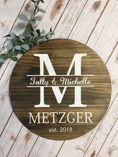 Personalized wooden signs - Personalized Wooden Sign Round Wood Sign Last Name Sign Wedding Gift Personalized Wedding Gif – Personalized wooden signs Wedding Gifts For Guests, Wedding Gifts For Couples, Unique Wedding Gifts, Wedding Ideas, Wedding Favors, Wedding Venues, Wedding Table, Wedding Invitation, Wedding Bouquets