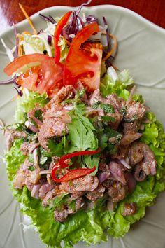 Thai Spicy Duck Salad by Bangkok Royal Restaurant in Lyon, France (ลาบเป็ดอีสาน ; Thai Recipes, Asian Recipes, Asian Foods, Duck Salad, Best Thai Restaurant, Tasty Thai, Thai Cooking, Cooking Kale, Laos Food
