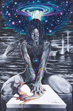 BY DELA / surreal psychedelic art Arte Dope, Dope Art, Psychedelic Art, Dope Kunst, Psy Art, Visionary Art, Art Inspo, Fantasy Art, Art Drawings