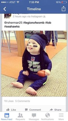 """""""Legion of Womb"""" - this baby was Richard Sherman for Halloween. I DIE."""
