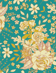 Soulful fabric collection Print:  Floral Universe Turquoise