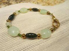 Shades of Green semi precious Bracelet with by BlueBevyDesigns