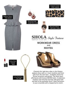 Your office outfits don't have to be menswear inspired. It's more fun and empowering to channel your inner lady boss with polished workwear dresses.  Make it a winner for parties by throwing on bold accessories and metallic heels. Complete the party look with a swipe of red lipstick.
