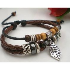 Pleasing Leaf Pendant Leather Rope Bracelets with Wooden Beads