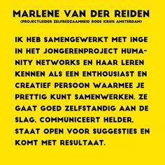 De referentie van Marlene van der Reiden over mijn werkzaamheden bij Humanity Networks, de jongerenorganisatie van het Rode Kruis in Amsterdam