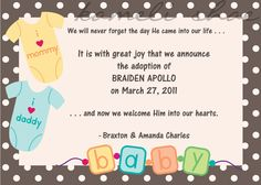 Adoption Announcement... P-I-Y, Customizable Digital Invitation, Birth Announcement, Thank You Card, Save the Date. $12.00, via Etsy.