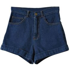 LUCLUC Dark Blue Empire Denim Shorts ($19) ❤ liked on Polyvore