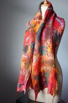 Nuno Felted cobweb scarf