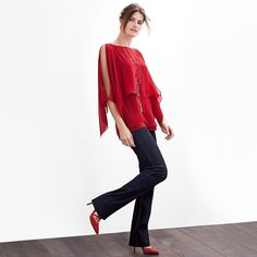 """It all begins with a skinny fit through the hip that leads to the thigh. Then at the knee, it evolves into a flattering flare. We love the juxtaposition our trend-right off-the-shoulder tops provide when paired with this retro-inspired style. Skinny flare jeans Fits slim to the body. Cotton/polyester/rayon/spandex. Machine wash, cold. Approx. inseams: 31"""" short, 33.5"""" regular, 36"""" long Imported From the Genius Collection. Like the most delicate rose, this convertible blouse offers layer upon…"""