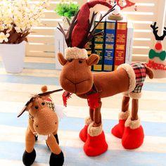 Navidad 2017 Tela Plush Elk Ornamento Mesa Escritorio Decoración navideña Niños Toy Cartoon Style Craft
