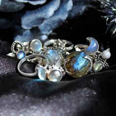 ✧♆✧ Labradorite Love ✧♆✧ Shop ⇢⇢ www.shopdixi.com // shop dixi // boho // bohemian // gothic // grunge // witchy // witchy // boho jewels // boho chic  // bohemian jewellery // bohemian jewelry // silver rings // sterling silver // gypsy jewels // rings // stacking rings // moon child // dark // mystic