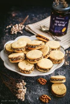 Fursecuri cu magiun de prune şi nuci - Bucate Aromate Preserves, Macarons, Biscuits, Bakery, Stuffed Mushrooms, Good Food, Food And Drink, Cooking Recipes, Gluten Free