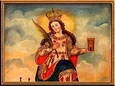 SANTA BARBARA ORACION PARA SALIR DE ANGUSTIAS, NECESIDADES Y PROBLEMAS Santa Barbara, Religious Icons, Saints, Prayers, Spirituality, Superhero, Artwork, Angeles, Divine Mercy