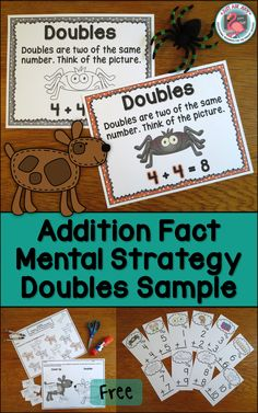 These free samples, compiled from three of my best-selling addition resources, are for reinforcing the doubles addition fact strategy with first and second graders. There is an anchor wall chart (in color or black/ gray/ white), 2 worksheets (3 pages) for identifying and sorting doubles addition equations, and flashcards with color or black/ white picture cues.
