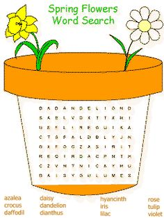spring themed printable word searches