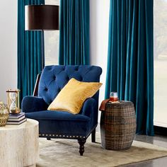 Get the Best Modern Living Room Furniture Blue Curtains Living Room, Navy Curtains, Velvet Curtains, Colorful Curtains, Curtains With Blinds, Bedroom Colour Palette, Bedroom Colors, Bedroom Decor, Bedroom Ideas