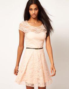 Lace Skater Dress with Belt