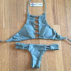 Brand new seamless cut out tankini bikini set L This's not Acacia brand. Brand new handmade bikini swim set size L. Top fit A,B,C bra, padded cups. Bottoms run Small fit like size M (6,8). Price is FIRM Swim Bikinis