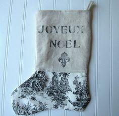 French style Christmas Stocking Paris Joyeux by hopeandjoystudios