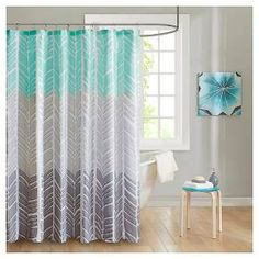 Create a colorblocked look in your bathroom with the Amanda Collection. This geometric chevron design uses light grey, taupey grey and aqua for a unique update to this pattern.