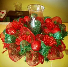 Deco mesh ribbon Christmas centerpiece/wreath