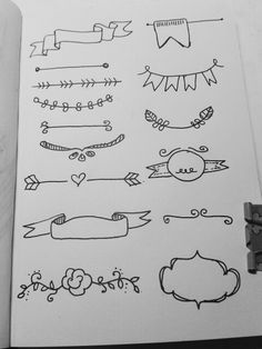 Doodles and header ideas. Perfect for planner spreads and scrapbooking. Banners, page fags, floral and more. Bullet Journal Agenda, Bullet Journal Headers, Bullet Journal Banner, Bullet Journal Inspo, My Journal, Bullet Journal Cursive, Bullet Journal For School, Bullet Journal Doodles Ideas, Bullet Journal Ideas How To Start A
