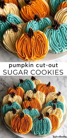Easy Sugar Cookie Frosting, Chewy Sugar Cookies, Rolled Sugar Cookies, Sugar Cookies Recipe, Cupcake Cookies, Cookies Et Biscuits, Sugar Cookie Icing Recipe That Hardens, Pumpkin Sugar Cookies Decorated, Cut Out Cookie Frosting