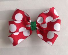 Red with White Polka Dots and Green Glitter 6 Loop Flat Bow on Etsy, $4.00