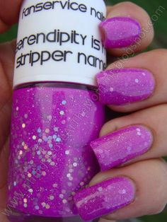 Fanservice Nails Serendipity Is My Stripper Name (HTF!). Swatched on a nail wheel, $10.
