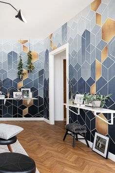 Blue and gold geometric wallpaper pattern design. Blue and gold geometric wallpaper pattern design. Gold Geometric Wallpaper, Blue And Gold Wallpaper, Room Wall Painting, Room Wallpaper, Wallpaper Designs For Walls, Iphone Wallpaper, Gold Interior, Interior Decorating, Interior Design